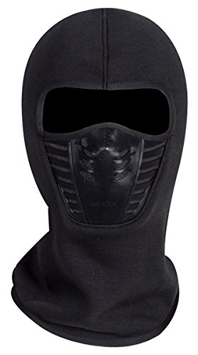 Adult Winter Fleece Grasping Balaclavas Face Cover Windproof Ski Mask Hat Halloween.YR.Lover Black