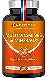 Multivitamines et minéraux + Ginseng | Energie, Système immunitaire, Musculation | Vitamines B1, B3, B6, B9, B12, C, D3, Fer et Calcium | Pour Hommes et Femmes | 90 gélules Vegan | Fabrication Française | Nutrimea