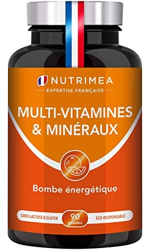 Multivitamines et minéraux + Ginseng | Energie, vitalité, puissance | 1 mois de cure | Fabrication Française | Vitamines B1, B3, B6, B9, B12, C, D3, Fer et Calcium | Pour Hommes et Femmes |