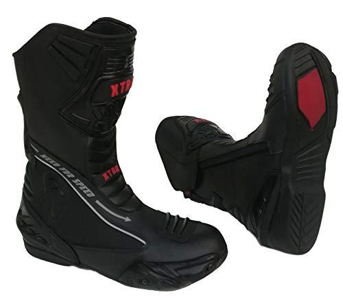 XTRM Botas de moto para adultos Evo Semi Racing Heavy Duty Moto Rider Hombres y Mujeres Protectora Armadura de Cuero Botas Deportivas Negro, color Negro, talla 39 EU