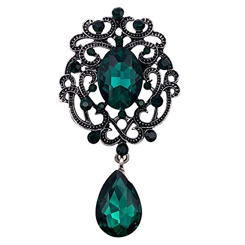 HAISWET Green Elegant Brooch Pin Filigree Jewlery Gift Collection Accessory Retro Silver Tone