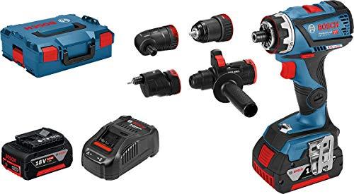 Bosch Professional 18V System Akku Bohrschrauber GSR 18V-60 FC (inkl. 2x5.0 Ah Akku, Ladegerät GAL 1880 CV, 4 FlexiClick Aufsätzen, in L-BOXX) - FlexiClick System