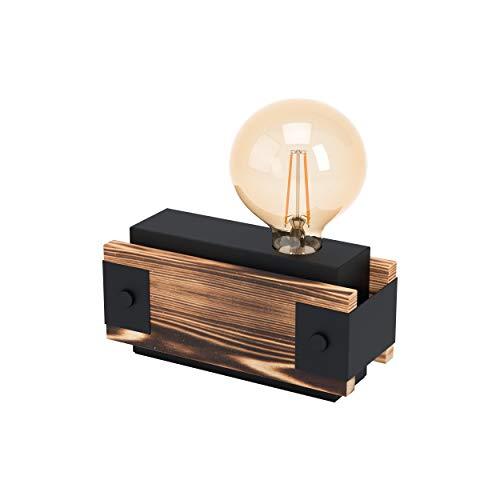 EGLO Tischlampe Layham, 1 flammige Tischleuchte Vintage, Industrial, Retro, Nachttischlampe aus Stahl und Holz, Wohnzimmerlampe in Schwarz, Natur, Lampe mit Schalter, E27 Fassung