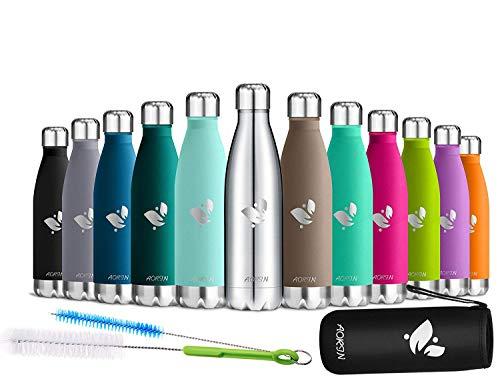 AORIN Vakuum-Isolierte Trinkflasche aus Hochwertigem Edelstahl - 24 Std Kühlen & 12 Std Warmhalten Pulverlackierung Kratzfestigkeit Leicht zu reinigen. (silber-750ml)
