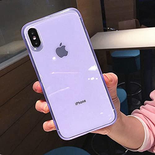 GGOIl Estuche para teléfono con Marco antichoque Transparente Colorido de Moda para iPhone 11 X XR XS MAX 8 7 6 6S Plus Cubierta Trasera de protección de TPU Suave, Morado, para iPhone 11 Pro