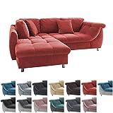 lifestyle4living Ecksofa in Rot mit Schlaffunktion | Eckcouch Eckgarnitur Polsterecke L-Couch Sofa L Form | Moderne Wohnlandschaft inkl. Rückenkissen und Zierkissen