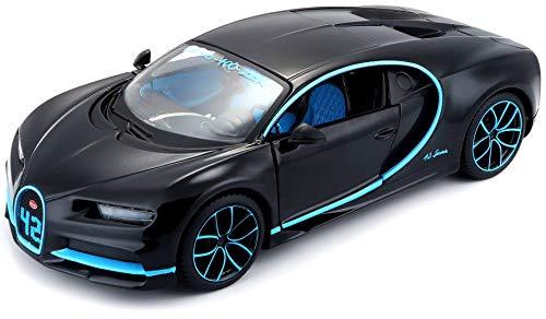 Maisto Bugatti Chiron 531514BK - Maqueta de Coche a Escala 1:24, Puertas móviles, 19 cm, Color Gris