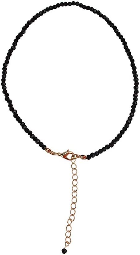 Cngstar Black Stone Bead Short Choker Necklace for Women Neck Clavicle Chain Collar Necklace Jewelry
