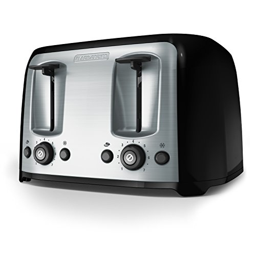 BLACK+DECKER Toaster, 4 Slice, Extra Wide Slots for Bagels and Artisan Breads, Black, TR1478BD