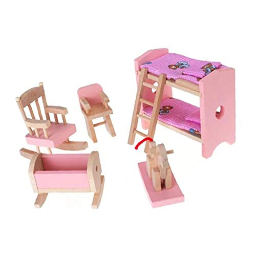 Nicetruc Holzpuppenhaus Möbel, Etagenbett Stuhl Wiege Kinder Geschenk Puppenstuben Mini Möbel Spielzeug Bunte