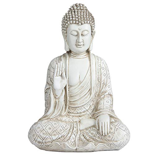 Leekung Meditation Buddha Statue Figurine Zen Decoration,Seated Meditative Buddah Statues Home Décor,Buddha Figurines Rustic Antique 11'inch Ivory White Color