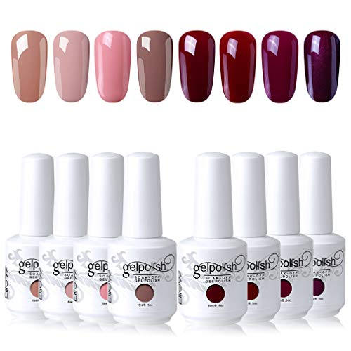 Elite99 Esmaltes Semipermanentes de Uñas en Gel UV LED, 8 Colores Kit de Esmaltes de Uñas de Color 017