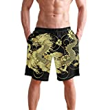 Men's Surfing Chinese Legends Gold Dragon Black Swimming Trunks