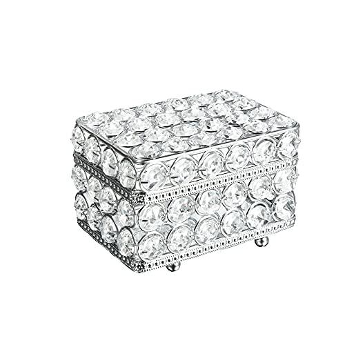 Feyarl Joyero de cristal con espejo de cristal real para pendientes, anillos, almacenamiento de recuerdos con tapa para tocador de boda, habitación Deco regalo de cumpleaños (plata)
