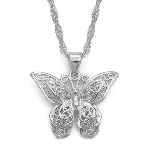 Charms mariposa colgante cadena collares mujer niña color...