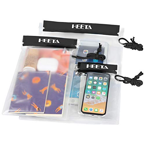 HEETA 3-Pack Clear Waterproof Dry Bag, Water Tight Cases Pouch Dry Bags for Camera Mobile Phone Maps, Kayaking Boating Document Holder (Black)