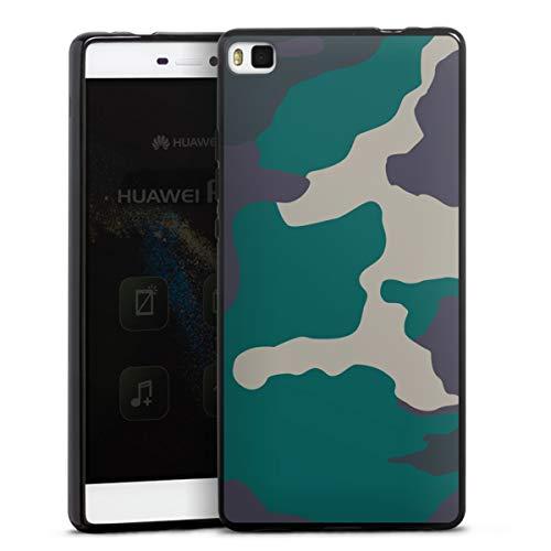 DeinDesign Silikon Hülle kompatibel mit Huawei P8 Case schwarz Handyhülle Camouflage Bundeswehr Muster