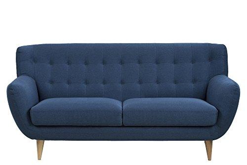 AC Design Furniture Sofa Jimmy   3-Sitzer   Dunkelblau   185 x 87 x 84 cm