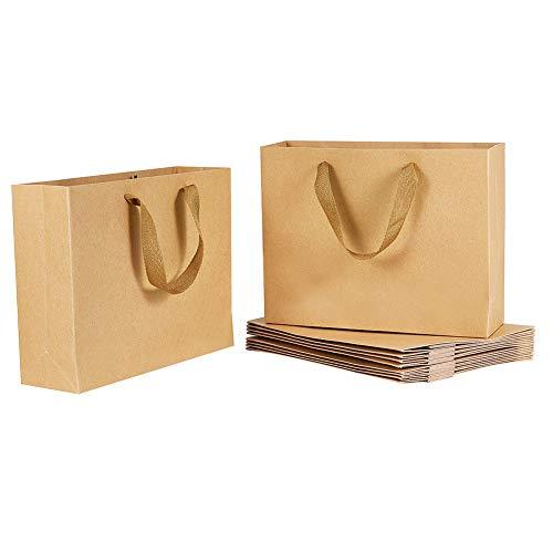PandaHall Paquet de 10 Sacs en Papier Kraft Brun avec Poignées - 27x8x21cm Sacs Kraft Grand, Emballage Cadeau et Sac de Marchandises, Sacs Kraft, Sacs de Vente au Détail