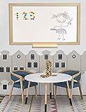 Pizarra blanca magnética con marco madera natural de pino y amplia bandeja o estante. Superficie para escritura con rotuladores tipo velleda para oficinas, decoración, infantil.(128 X 90 cm)