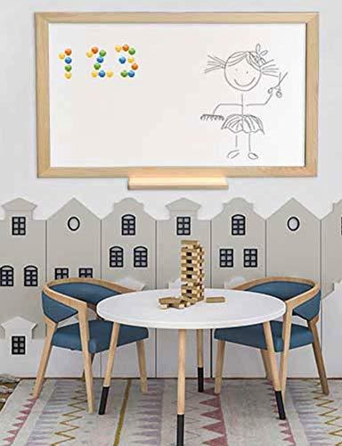 Pizarra blanca magnética con marco madera natural de pino y amplia bandeja o estante. Superficie para escritura con rotuladores tipo velleda para oficinas, decoración, infantil.(84 X 64 cm)