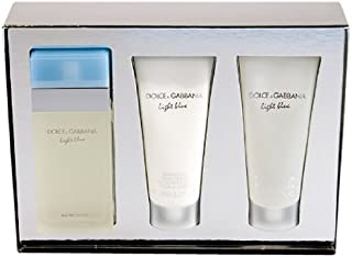 Light Blue by Dolce Gabbana 3 Piece Gift Set, 3.4 oz Eau de Toilette Spray, 3.3 oz Body Cream, 3.3 oz Shower Gel
