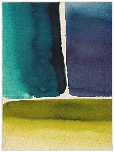Bluebellgray - Muralla Azure 15108 Teppich - 140x200 cm - Rechteckig - Kurzflor - Design - Blau, Grün - Für Wohnzimmer, Schlafzimmer, Esszimmer