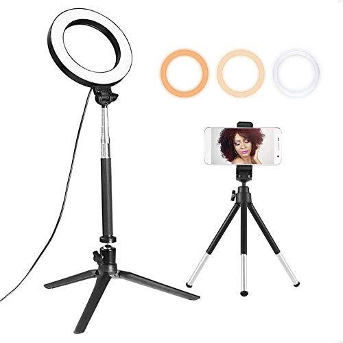 Cxjff 6inch Ringlicht mit Standplatz und Telefon-Halter, 3-Farben Dimmbare Stehen Fußboden-Licht for TikTok YouTube Vlogging Video Make-up Selfie, USB Powered