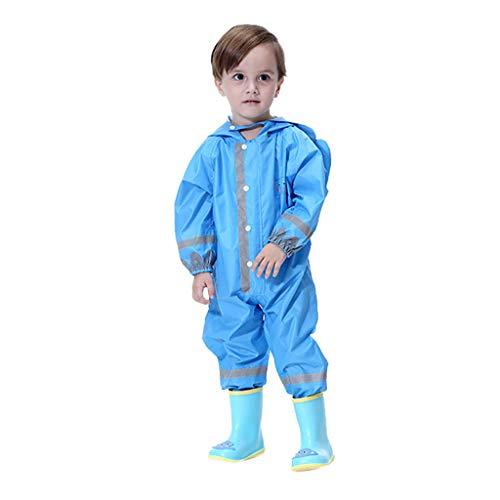 finess Little Kids Boys Girls Raincoat Rainsuit Waterproof Lightweight Cute Rabbit Ears One Piece Hooded Rain Coat 3-10Yrs (Blue, 3-5 Years S)