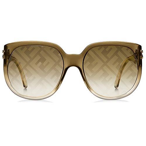 Fendi FF0403/G/S 09Q Brown FF0403/G/S Round Sunglasses Lens Category 2 Lens Mir
