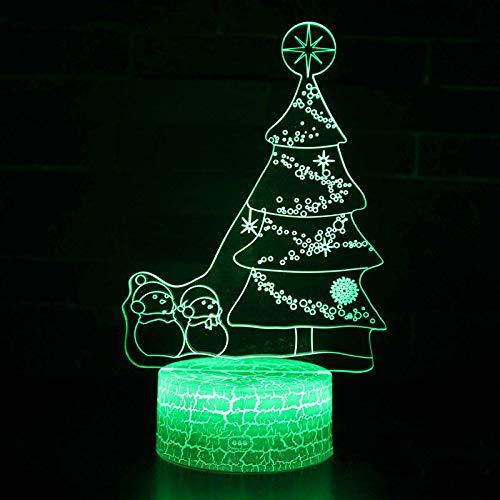 regali di orangeww Albero di Natale Lampada 3d Led- Touch 7 Lampade da tavolo a tavolo bianco color crepa /proiettore ologramma 3d