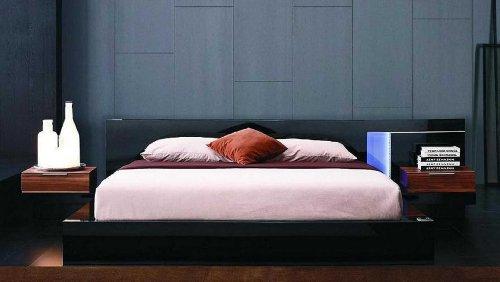 Find Bargain Vig Furniture Alaska Night Queen Modern Black Lacquer Bed