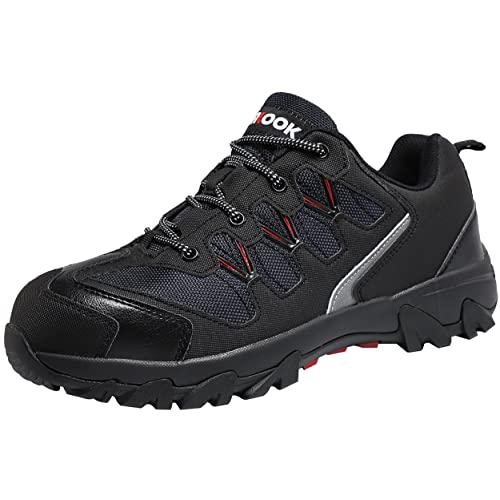 ASHION Chaussure de Securité Homme Travail Protection Respirant Antidérapant Baskets Chantiers et Industrie pour Homme(E Noir,44 EU)
