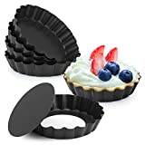 """Laxinis World 4"""" Quiche Pans with Removable Bottom, Non-stick, Fluted Sides, Mini Tart P..."""