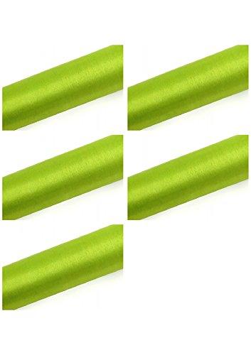 SiDeSo® Organza Rolle 45m x 36cm (5X 9m Rolle) Stoff Hochzeit Tischläufer Deko Floristik (Apfel grün)