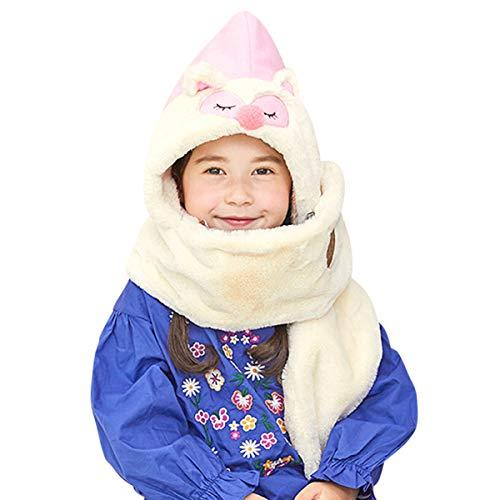 DORRISO Unisex-niños Sombrero con Bufanda Chicos Chicas Sombrero y Bufanda Otoño Invierno Primavera Calentar Ligero Gorro Bufanda Sombrero 3-10 años Niño Rosado
