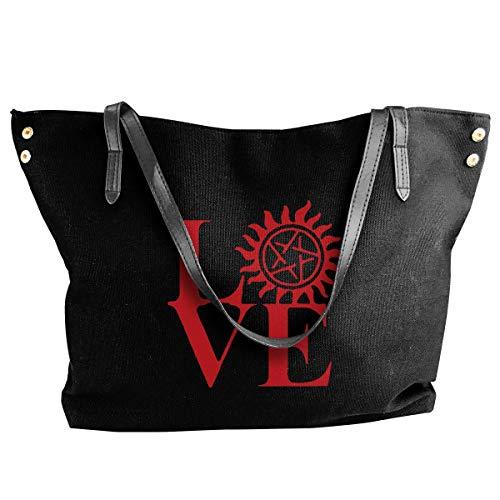 sghshsgh Umhängetaschen,Damenhandtaschen, Love Supernatural Shoulder Bag Women Fashion Canvas Handbag Beach Bags For Shopping