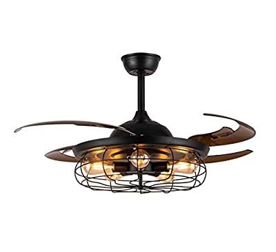 APBEAMLighting Ceiling Fan Light Retractable Blades Reverse Industrial Vintage Pendant Lamp with Remote Control for Living Room Bedroom Black 48 Inch 5 Light 4 Fan Blades
