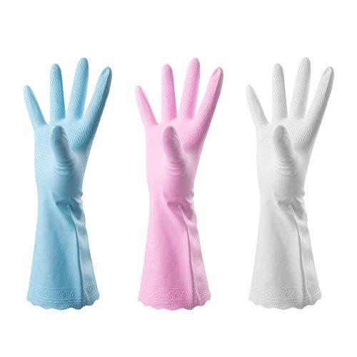 YiRAN Haushaltshandschuhe, 3 Paar gummihandschuhe, Haushalt Küche Reinigung, sauber und sanitär