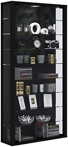 VCM Wandvitrine Sammelvitrine Glasvitrine Wand Vitrine Regal Schrank Glas ohne LED-Beleuchtung Schwarz