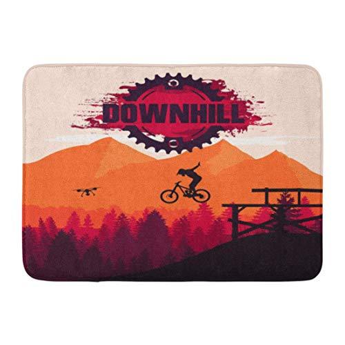 NCH UWDF Doormats Bath Rugs Door Mat Bike Mountain Biking Downhill Freeride Extreme Sport Cliff Action Active 15.8'x23.6'