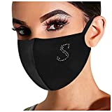【USA in Stock】Rhinestone Bling Letter Print Face Mask,Washable Reusable Mouth Cover Safety Protect Breathable Bandanas for Adult