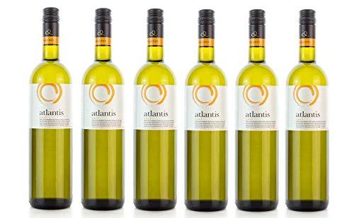 6x 750ml Atlantis Weißwein trocken knackig frisch Santorini Argyros griechischer Weiß Wein Set + 2x 10ml Olivenöl von Kreta zum Test