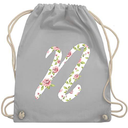 Shirtracer Anfangsbuchstaben - N Rosen - Unisize - Hellgrau - turnbeutel anfangsbuchstabe n - WM110 - Turnbeutel und Stoffbeutel aus Baumwolle