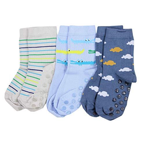 TupTam Baby Jungen Socken mit ABS Noppen 3er Pack, Farbe: Farbenmix 3, Socken Größe: 23-26