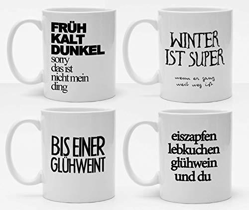 4er Tassenset, Tassen mit coolen Sprüchen, Winter Tassen, Glühweintassen, Handmade