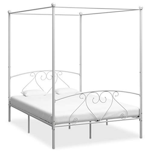 UnfadeMemory Himmelbett-Gestell Metall Himmelbett Eisenbett mit Himmel Metallbett Klassisch Design Schlafzimmerbett Bettrahmen ohne Matratze (140 x 200 cm, Weiß)