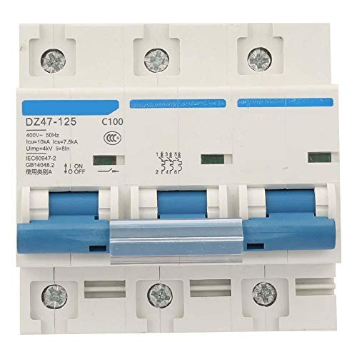 Current Circuit Breaker, DZ47-125 3P Current Miniature Circuit Breaker 400V 80/100/125A Leakage Protection Switch Supplemental Protection(100A)