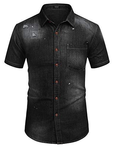 Jeanshemd Kurzarm Herren Freizeit Regular fit Sommer Shirt Casual Hemden