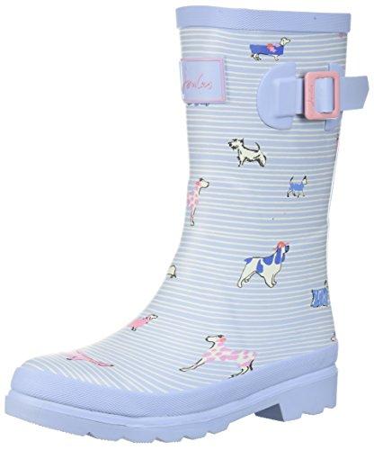 Joules Girls' JNRGIRLSWLY Rain Boot, Sky Blue Sunday Best Dogs, 3 Medium US Toddler
